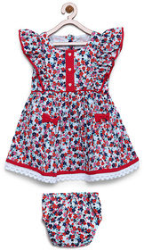 Bella Moda Girls Red Printed Fit & Flare Dress