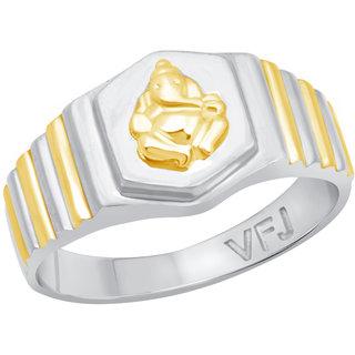 Vighnaharta Mangalmurti Plain Rhodium Plated Alloy Gents Ring for Boys and Men