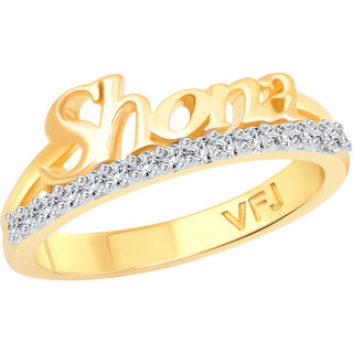 Vighnaharta Romantic Word SHONA CZ Gold and Rhodium Plated Alloy Ring for Women and Girls