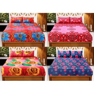 42124b923b Buy Welhouse India 3D Printed Set Of 4 Double bedsheet with 8 Pillow ...
