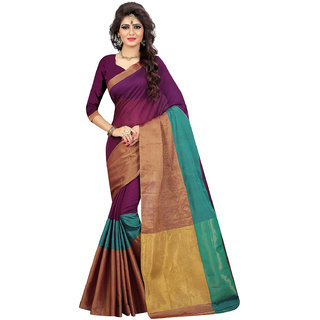 Swaron Women's Magenta and Golden Colored Woven Patta Chanderi Silk Saree With Unstitched Blouse