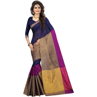 Swaron Women's Navy Blue and Golden Colored Woven Patta Chanderi Silk Saree With Unstitched Blouse
