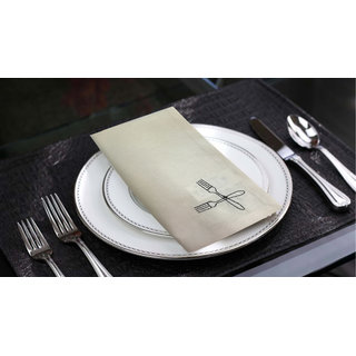 Lushomes Off-White Embroidered Cotton napkins with Rich motives (100 % Cotton, Pack of 6, 40 x 40 cms)