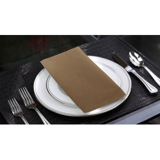 Lushomes Sand Cotton Plain Dinner Napkins Set (6 pcs) Size: 16 x16