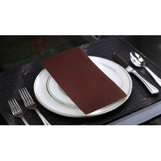 Lushomes Brown Cotton Plain Dinner Napkins Set (6 pcs) Size: 16 x16