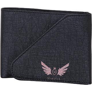 Martell Genuine Black Buckle Lock Leather Wallet For Men/Boys