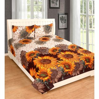 Rk PolyCOTTON 1 DOUBLE BED SHEET WITH 2 PILLOW COVERS DBPC07