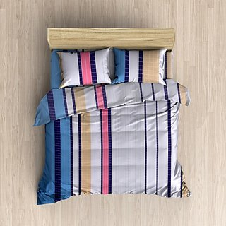 MHDecor 120 TC Cotton Double Printed Bedsheet