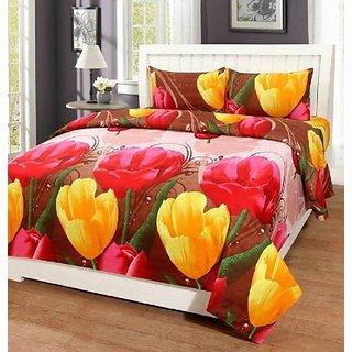 MHDecor Cotton Double Floral Bedsheet