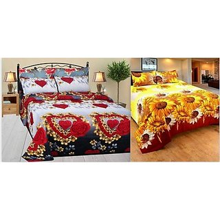 Attractivehomes Glace Cotton 2  Double Bedsheet With 4 Pillow Covers