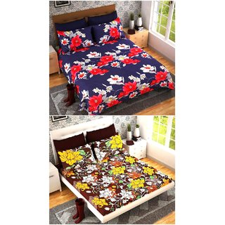 RK  3D Printed Cotton 100 Thread Count Double Bedsheet With 2 Pillow Covers (BUY 1 GET 1 FREE) (Set of 1)