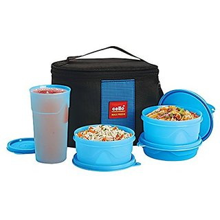 Cello Max Fresh Super Combo Polypropylene Lunch Box 4-Pieces Blue