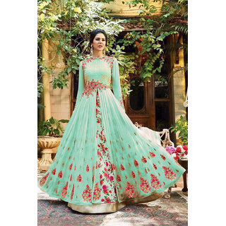 Salwar Soul Womens New Festiv Hevy Designer  Party Wear Light Green Long Gown  Looking Beautiful For Girls