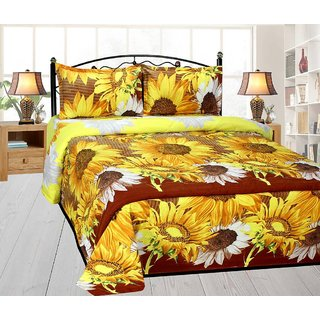 K decor poly cotton yellow 3d sun flower design double bedsheet with 2 pillow cover