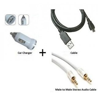 love4ride Combo of USB Charger/Data Cable/Aux Cable