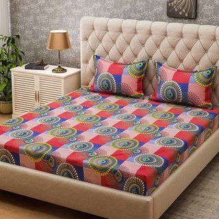RK home polycotton double bedsheet with 2 pillow cover
