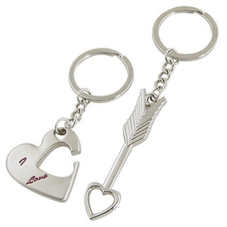 Anishop Heart Arrow Key Chain Silver MultiPurpose keychain for car,bike,cycle and home keys