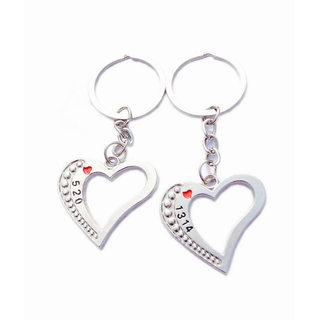 Anishop Love 520 Couple Key Chain Silver MultiPurpose keychain for car,bike,cycle and home keys