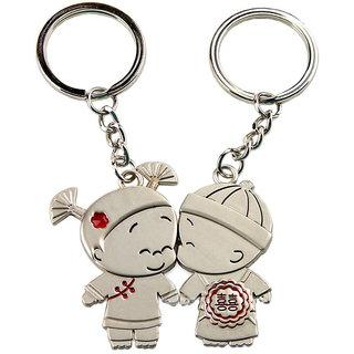 Anishop Mini Kissing Couple Key Chain Silver MultiPurpose keychain for car,bike,cycle and home keys
