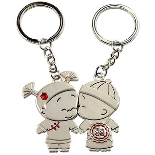Anishop Mini Couple kissing Key Chain Silver MultiPurpose keychain for car,bike,cycle and home keys