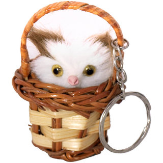 Anishop Cute Wooden Basket Key Chain Multicolor MultiPurpose keychain for car,bike,cycle and home keys
