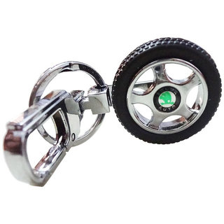 Anishop Skoda Alloy Wheel Key Chain Silver MultiPurpose keychain for car,bike,cycle and home keys