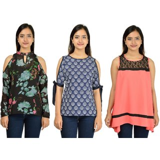 Timbre Women Stylish Printed Crepe Tops Combo Pack Of 3