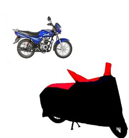 AutoAge Two Wheeler Red+Black Cover for Bajaj CT 100