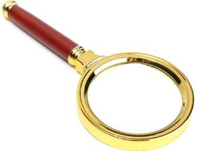 Evershine Gifts And Household Antique Handheld Magnifier Magnifying Glass Lens (70mm) Maroon-Gold