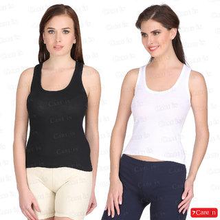 a603f542074704 Care In Set of 2 Cotton Camisole   Spaghetti   Slip   Tank Top White Black