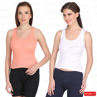 e82226a81b1747 Buy Care In Set of 2 Cotton Camisole   Spaghetti   Slip   Tank Top Peach  White -5155 Online   ₹498 from ShopClues