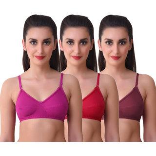 Maroon Multi Color Poly Cotton Set of 3 Women's Bra Combo