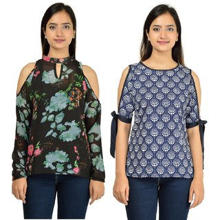 Timbre Women Stylish Blue N Black Cold Shoulder Tops Combo Pack Of 2