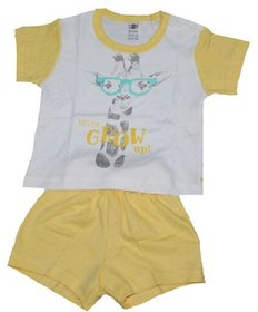 Krivi Zero Baby White with Green Boys Top and Bottom Sets
