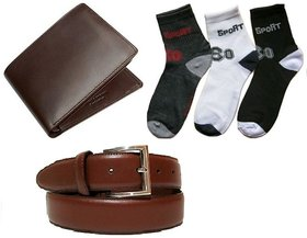 RK Combo Of 3 Pair Ankle Socks + Brown Leatherite Bi-fold Wallet + Brown Belt