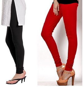 Stylobby Black And Red Cotton Lycra (Pack Of 2 Leggings)