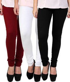 White Black and Maroon Cotton Lycra Leggings