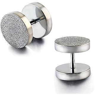 Satin Finish Silver Stainless Steel Men's Round Ear Stud Barbell Earring (Pair Of)