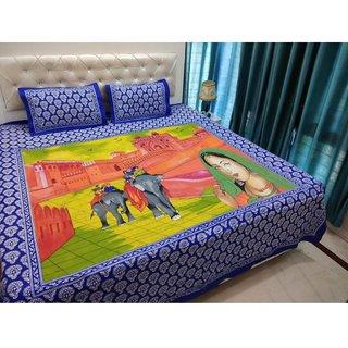 Casa Confort Cotton Blue jaipuri duble bed sheet-225x250 cm,2 pillow cover(46x69)cm