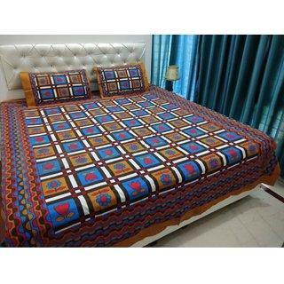 Casa Confort Cotton Brown jaipuri duble bed sheet-225x250 cm,2 pillow cover(46x69)cm