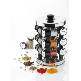 DarkPyros Revolving Spice rack With 12 Jars And Heavy Stainless Steel Top And Bottom