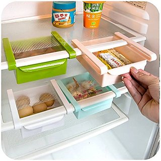 Clickon Multi Purpose Plastic Storage Rack Organizer for Refrigerators Storage Rack Shelf Drawer Box- 4 Pcs