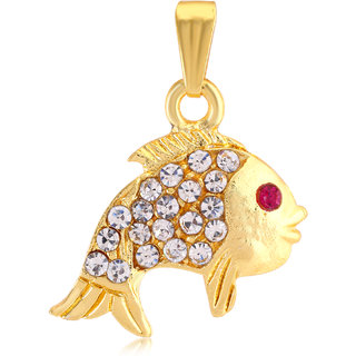 Sukkhi Fish shaped AD And Gold Plated Pendant