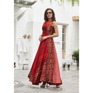 Meia Red Printed Art Silk Stitched Kurti