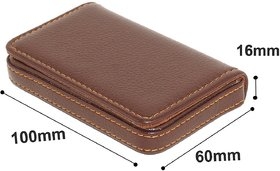 Evershine Gifts And Household Stylish Pocket Size Stitched Leather Visiting Card Holder- Brown