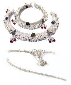Rabbi Set of 2 Pair Beautiful Silver Plated anklet payal bracelet