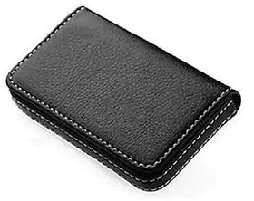 Evershine Gifts And Household Stylish Pocket Size Stitched Leather Visiting Card Holder For Keeping Business Card- Black