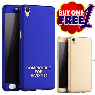 Mobimon 360 Degree Full Body Protection Front Back Case Cover (iPaky Style) with Tempered Glass for VIVO Y51 - Blue ( Buy 1 get one free)