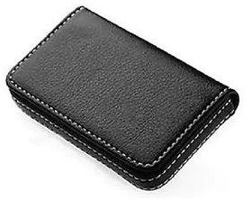 Evershine Gifts And Household Stylish Pocket Size Stitched Leather Visiting Card Holder- Black