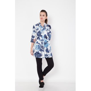 Hive91 Blue Floral Tunic with 3/4 Sleeve in Rayon Fabric